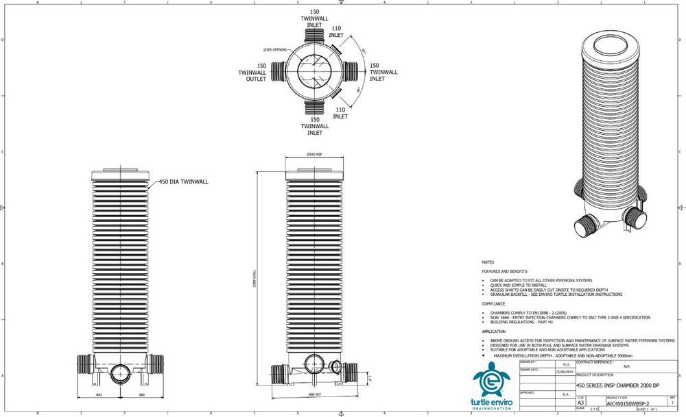 Inspection Chamber - 450mm Dia x 2000mm Depth with 150mm Twinwall and 110mm and 150mm Optional Inlets