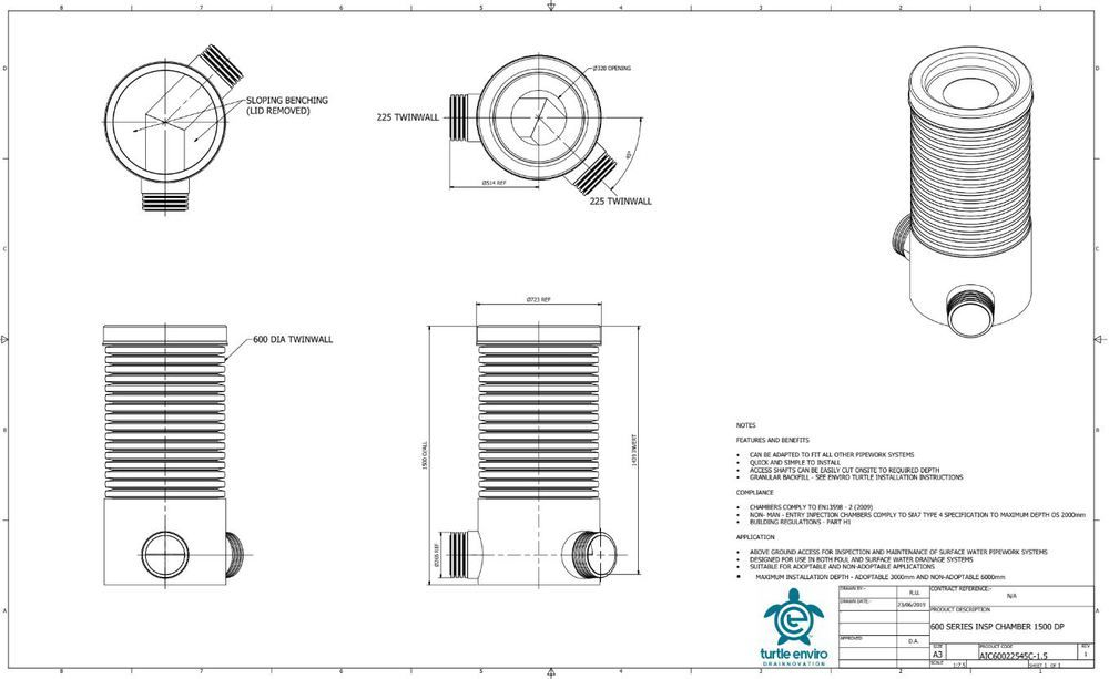 Inspection Chamber - 600mm Dia x 1500mm Depth with 225mm x 45 Degree Twinwall Channel