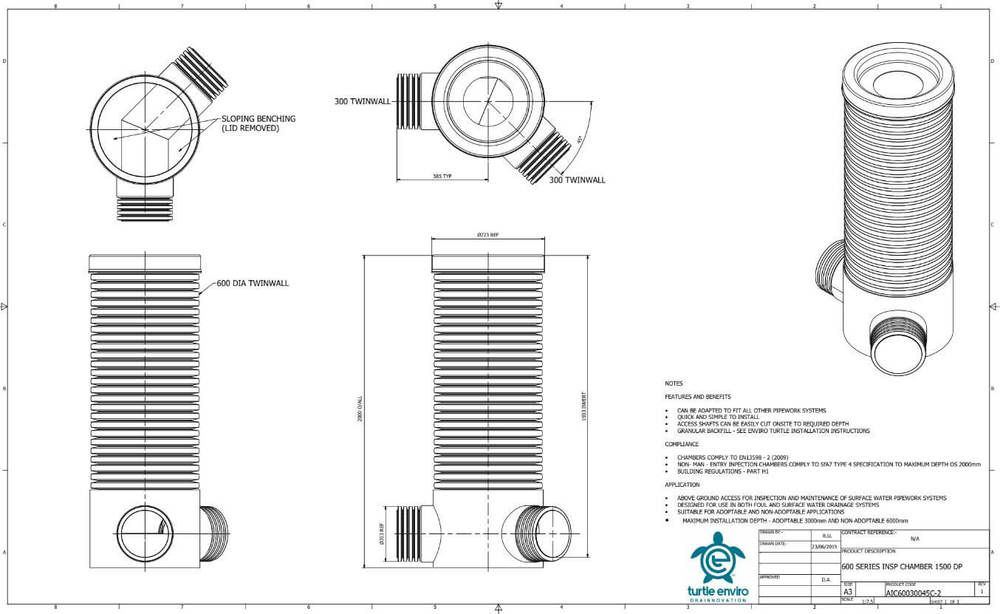 Inspection Chamber - 600mm Dia x 2000mm Depth with 300mm x 45 Degree Twinwall Channel