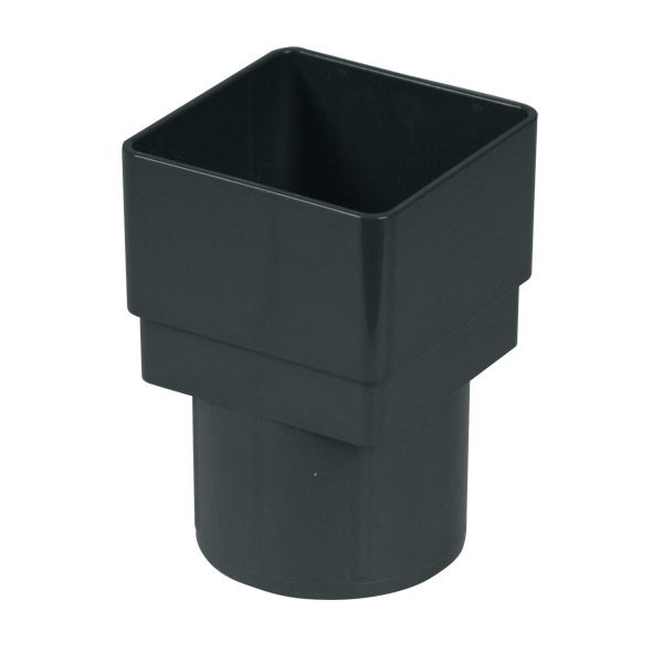 PVC Square to PVC Round Downpipe Adaptor - Anthracite Grey