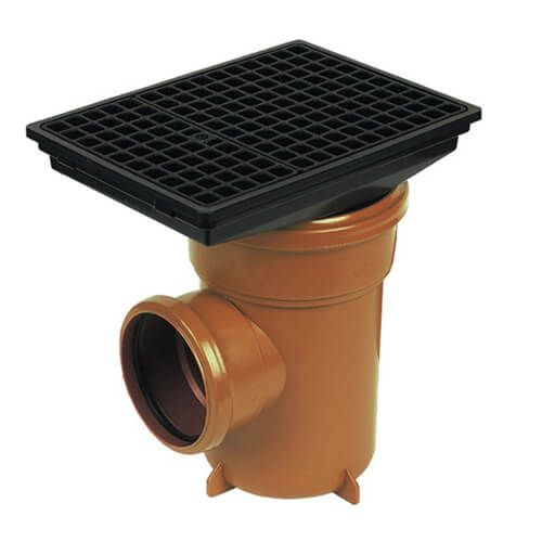FloPlast Drainage Bottle Gully Square Grid - 110mm