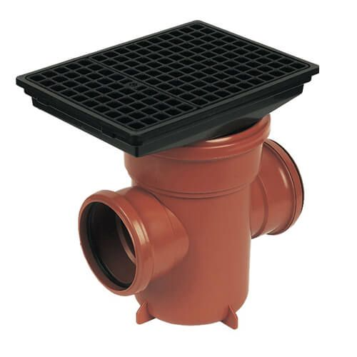 FloPlast Drainage Back Inlet Bottle Gully Rectangular Grid - 110mm