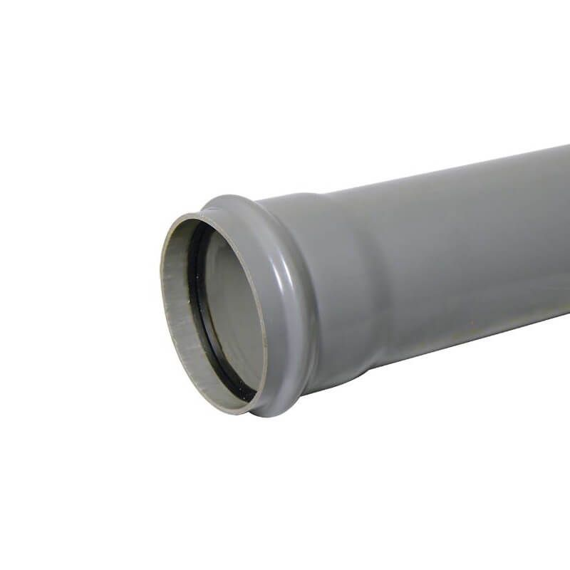 Ring Seal Soil Pipe Single Socket - 110mm x 1mtr Grey