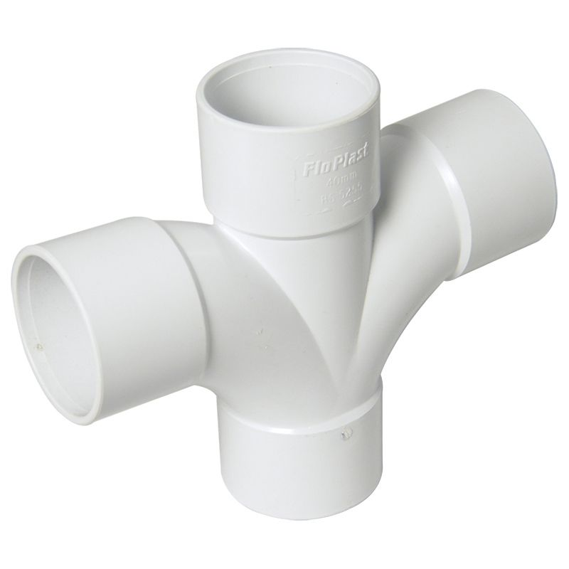 Solvent Weld Waste Cross Tee - 92.5 Degree x 40mm White