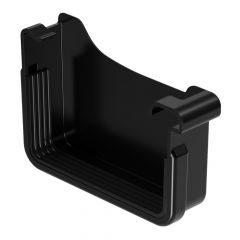 Square Gutter (Large 135mm) Right Hand Stopend - Black