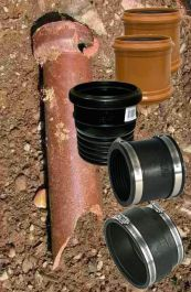 """4/"""" RUBBER COUPLING 110mm CLAY TO PLASTIC OR C.I -STAINLESS STEEL CLIPS INCLUDED"""