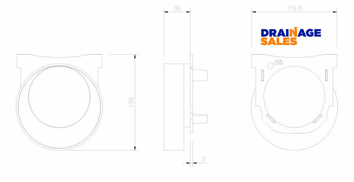 D712 End Outlet Technical Drawing