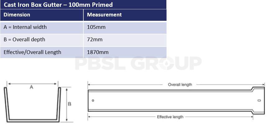 100mm Cast Iron Primed Box Dimensions