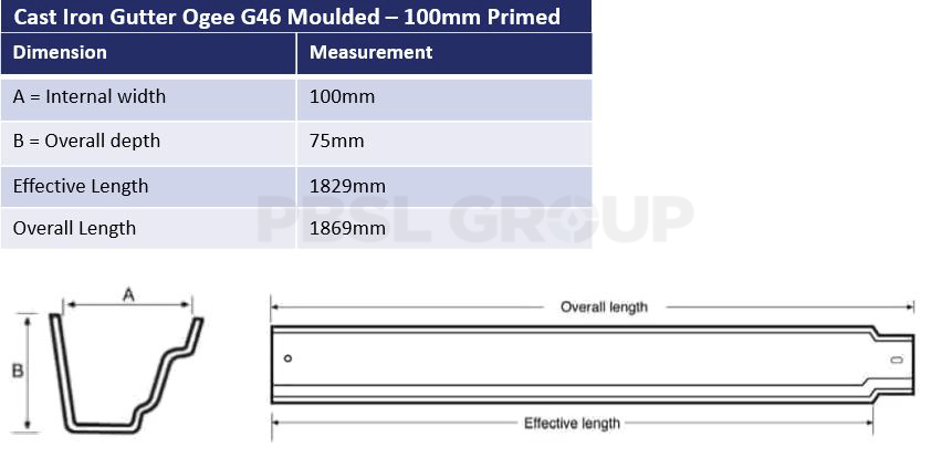 100mm Cast Iron Primed Ogee G46 Dimensions