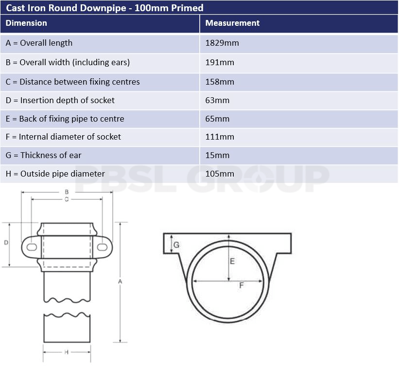 100mm Primed Cast Iron Round Downpipe Dimensions