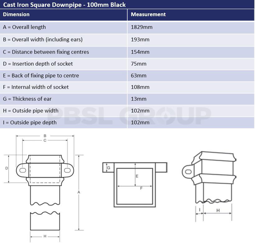 100mm Black Cast Iron Square Downpipe Dimensions