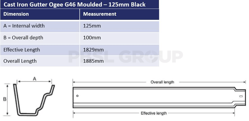 125mm Cast Iron Black Ogee G46 Dimensions