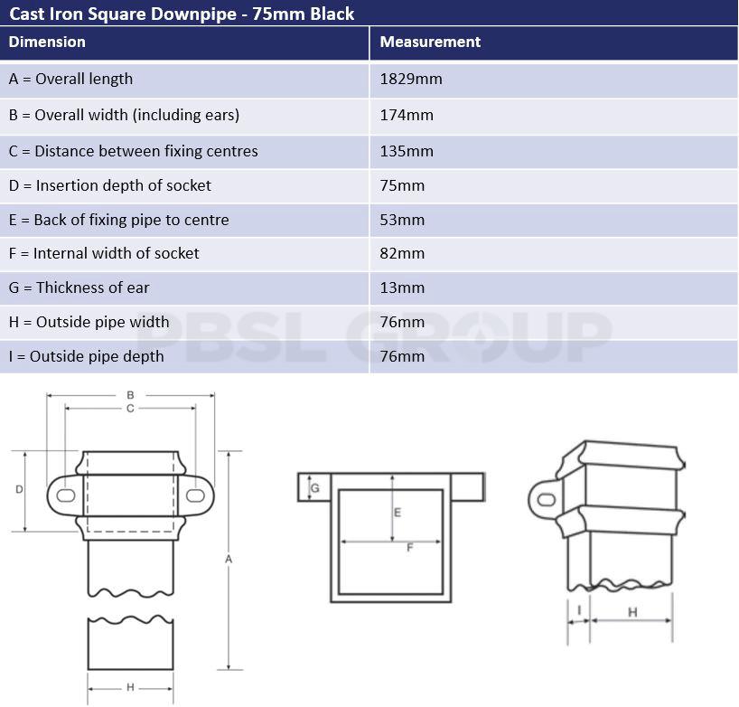 75mm Black Cast Iron Square Downpipe Dimensions
